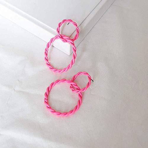 Simplicidad con Estilo Vintage Pintura Fluorescente Simple Doble Capa Hueco Torcido Círculos Redondos Pendientes Colgantes para Mujeres Regalos Joyas de Fiesta, N-J, c