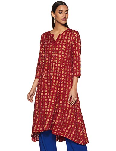 Global Desi Women's synthetic straight Kurta (EC18G219KURYDARK REDXS_ Dark Red_ X-Small)