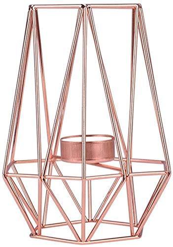 FASTER Geometrische Kerzenhalter, Geometrisch Teelichthalter aus Metall moderner Kerzenständer aus Eisen, Stabiler Kerzenständer Nordischen Stil Schmiedeeisen Dekoration Metall Handwerk (Rosegold M)