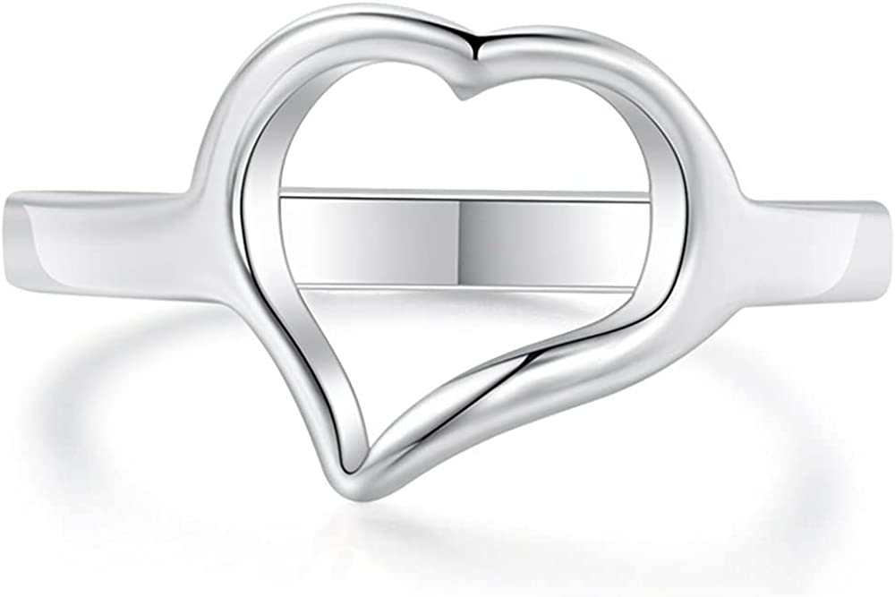 Stainless Steel Open Heart Karma Statement Promise Ring