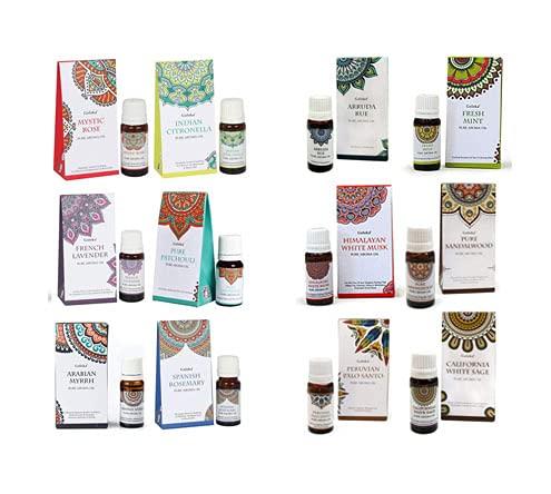 Pack 12 esencias Goloka - Citronella, Salvia Blanca, Palo Santo, Ruda, Lavanda, Menta, Patchouli, Mirra, Sandalo, Romero, Almizcle y Rosa.