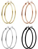 JOERICA 60MM Clip On Hoop Earrings for Women Silver Tone Gold Tone Rose Gold Tone Black Unpierced Hoop Earrings Non-pierced