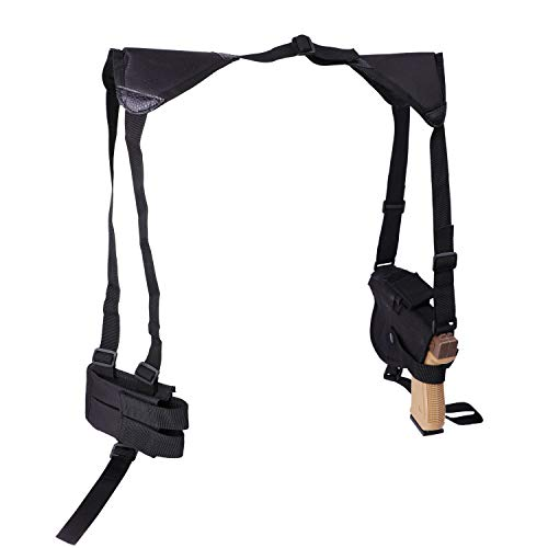 ASETIC Shoulder Holster for Pistols, Adjustable Vertical Gun Holster with Double Magazine Pouch, Tactical Concealed Carry 1911 Shoulder Holsters