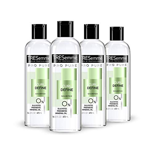 TRESemmé Pro Pure Shampoo Sulfate-Free for Curly Hair Curl Define Hair with 0% Sulfates, Parabens, Mineral Oils and Dyes 16 oz 4 Count
