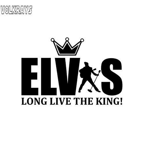 Volkrays Personality Car Sticker Elvis Presley Long Live The King Accessories Reflective Vinyl Decal Black/Silver,9cm*14cm