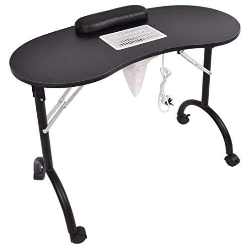 EDELWEISS BEAUTY klaptafel, inclusief stofzuiger en zwarte polssteun (geschikt voor manicure, nagelreconstructie en nageldecoratie) (wit) (zwart)