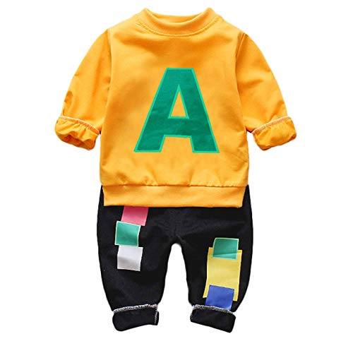 WANGYUEGUANG Toddler Boys Kids Letter Vêtements 2PCS T-Shirt à Manches Longues + Pantalon Tenues Set-in Vêtements Ensembles de Mother & Kids
