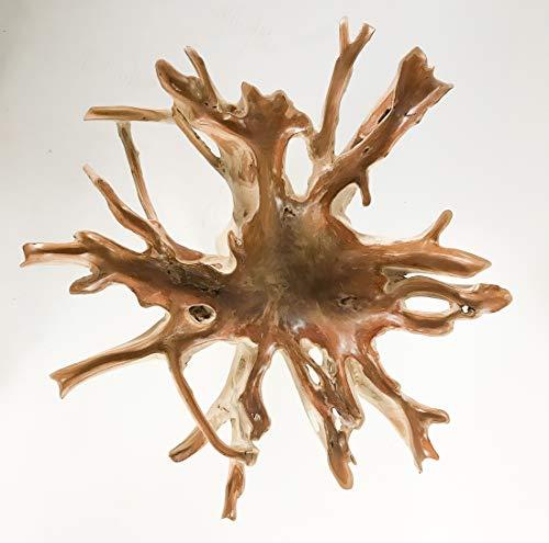 Rococo Mesa Redonda de Comedor de raiz de Teca. Cristal de 190cm (Imagen Real)