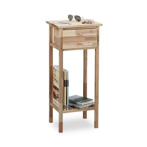 Relaxdays bijzettafel walnoot met lade, 2 legplanken telefoontafel, hoge houten tafel h x b x d: 80 x 35 x 30 cm, naturel
