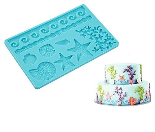 SWEET CANDY BAKERY Torten Fondant 3D Form aus Silikon Muscheln Meer See Silikon Ausstecher Torten-Dekoration Schokoladen-Form Meer Urlaub Sommer