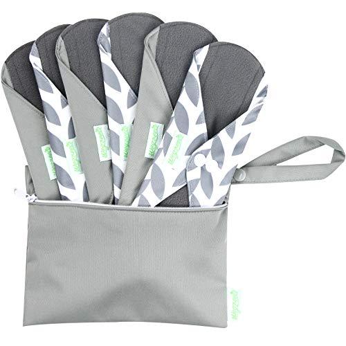 Wegreeco Bamboo Reusable Sanitary Pads (Stylish Pattern) - Cloth Sanitary Pads   Light Incontinence Pads   Reusable Menstrual Pads - 6 Pack Pads, 1 Cloth Mini Wet Bag (Small, Luxury)