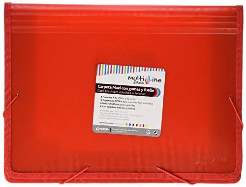 Grafoplás 4802051. Carpeta Maxi con Gomas y Fuelle, Roja, A4+, Multiline