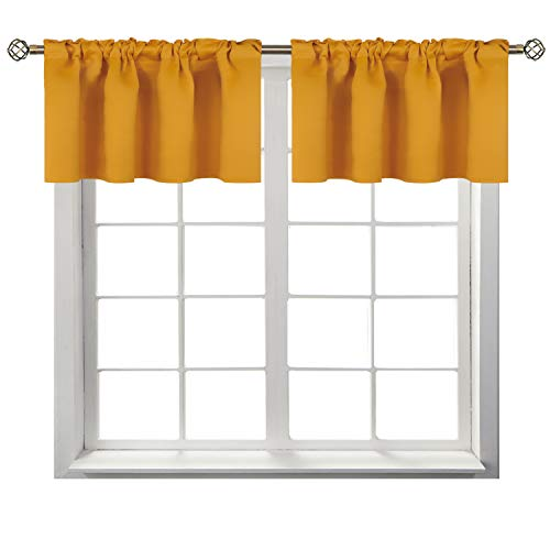 BGment Rod Pocket Valances for Kitchen- Thermal Insulated Room Darkening Tier Valance Curtain for Dinning Room, 42 x 18 Inch, 2 Panels, Mustard