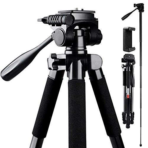 Camera Tripod, FOSITAN 180cm Compact Travel Tripod with Quick Release Plate and Phone Holder for Camera DSLR Canon Nikon Sony Smartphone Video Tripod with 360° Panorama for Video Shoting Still-Lifes