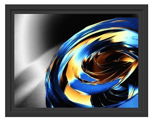 Picati Blaue abstrakte Form im Schattenfugen Bilderrahmen/Format: 38x30 im Schattenfugen-Bilderrahmen/Kunstdruck auf hochwertigem Galeriekarton/hochwertige Leinwandbild Alternative
