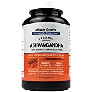 Organic Ashwanghanda 1150mg | Boosted with Blueberry, Turmeric, Ginger, and Black Pepper | 120 Capsules for Mood, Anxiety & Stress Relief | Max Strength KSM-66 Ashwagandha from Root - 5% Withanolides