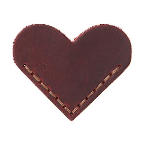 GUOQIAO✦ Segnalibro a forma di cuore realizzato a mano in pelle, accessori per la lettura ad angolo, idea regalo per amanti dei libri, lettori insegnanti, Pelle, WR#, 5.5 x 5.5cm(2.17 x 2.17in)