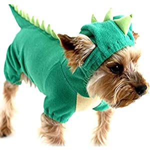 Cuteboom Dinosaur Dog Halloween Costume Pet Dino Hoodie for Small & Medium Dogs Green
