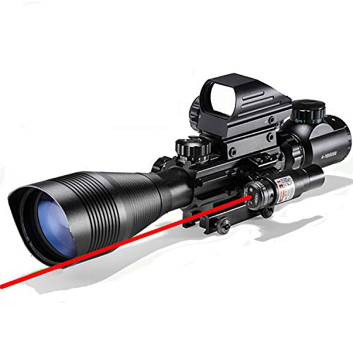 Rifle Scope Combo C4-12x50EG Dual Illuminated with Red Laser Sight 4 Holographic Reticle Red Green Dot for Weaver Rail Mount