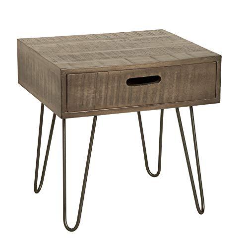 riess-ambiente.de Moderner Beistelltisch Scorpion grau 50cm Mangoholz mit Hairpin Legs Holztisch Nachttisch Massivholz Wohnzimmertisch