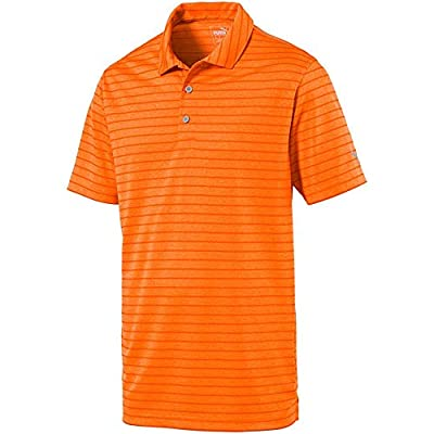 PUMA Golf Kids Boy's Rotation Stripe Polo (Big Kids) Vibrant Orange MD (10-12 Big Kids)