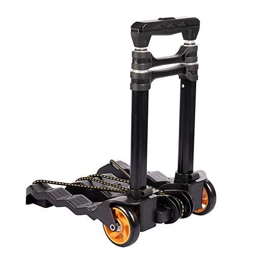 SYue Zusammenklappbarer Handwagen Handwagen, Leichter Gebrauchswagen mit 4 Rädern für Reisen, Gepäck, Umzug, Auto und Büro