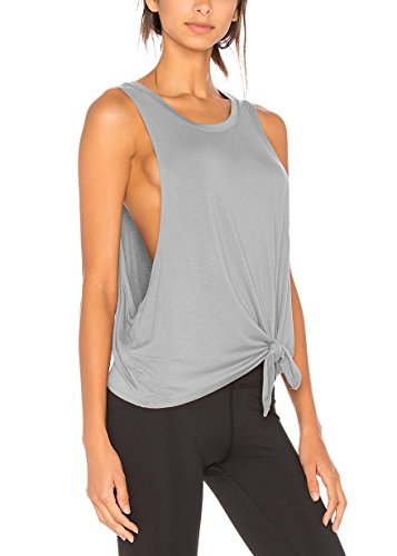 Bestisun Workout Clothes Racerback Athletic Tank Top Activewear Sport Shirts Fashion Yoga Tie Knot T-Shirts Low Cut Top Gray XS