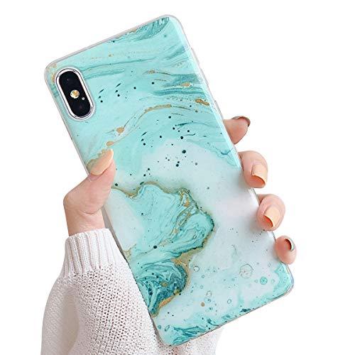 Oihxsetx Marmor-Schutzhülle, kompatibel mit iPhone XR, ultradünn, glänzend, glitzernd, weiches TPU-Gel, Silikon, durchsichtig, für Mädchen und Frauen mehrfarbig grün L