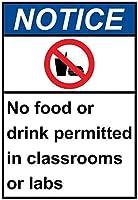 警告サイン-教室や実験室での飲食は禁止されています。 通行の危険性屋外防水および防錆金属錫サイン