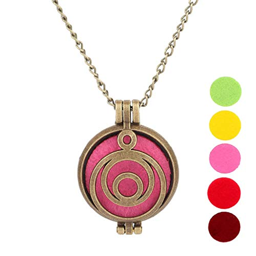 PHOOW Essential Oil Aroma Diffuser, Perfume Pendant Out of The Box Necklace Antique Bronze Aromatherapy Necklace owl owl Tree of Life (5 Replacement Pads) (Color : 2)