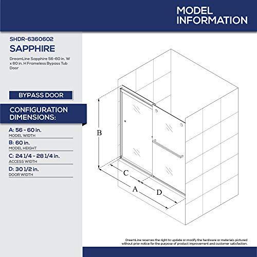 DreamLine Sapphire 56-60 in. W x 60 in. H Semi-Frameless Bypass Tub Door in Chrome, SHDR-6360602-01