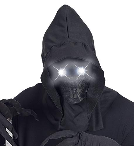 shoperama Mscara con capucha invisible, con ojos luminosos, efecto de desvanecimiento, para Halloween, terror Sensenmann, color: blanco