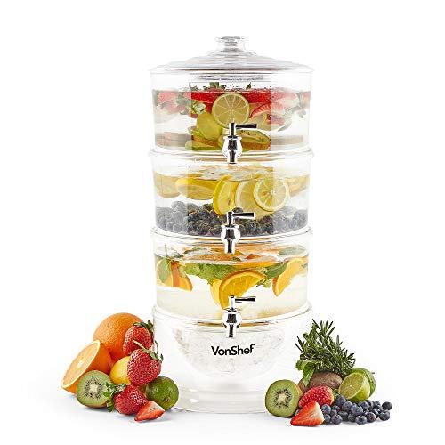 VonShef 3 Etagen Getränkespender mit 10,5 l Kapazität, Zapfhähnen & Eisfach