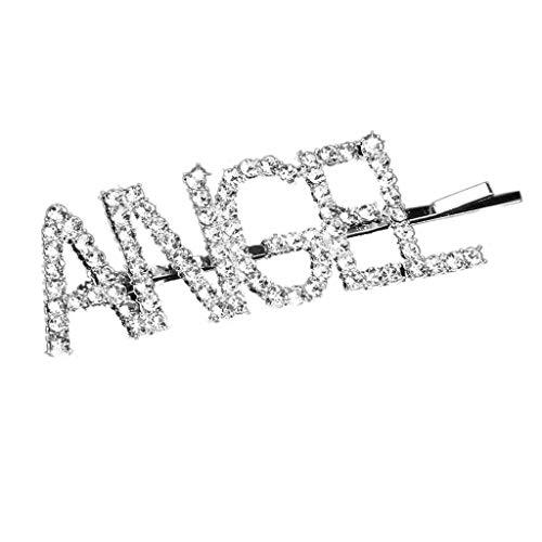 Niumanery Minimalist Luxury Aligned Glitter Rhinestone Hairpins Bridal Wedding Funny Letters Hair Clips Bachelorette Party Favor Barrettes Angel