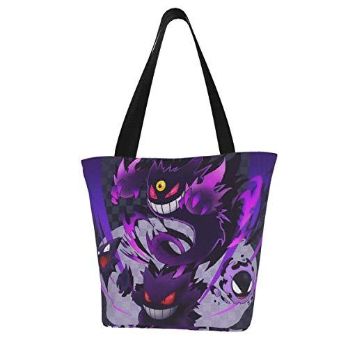 Gastly Haunter Gengar, bolso de lona para mujer, bolso de cubo personalizado de Anime, bolso de hombro de moda esencial para todos los días, bolso espacioso y espacioso