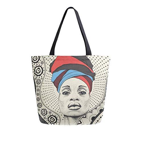 Bolso de lona tribal para mujer africana con turbante para mujeres, viajes, trabajo, compras, compras, asa superior, bolsos grandes, reutilizables, bolsas de hombro de algodón
