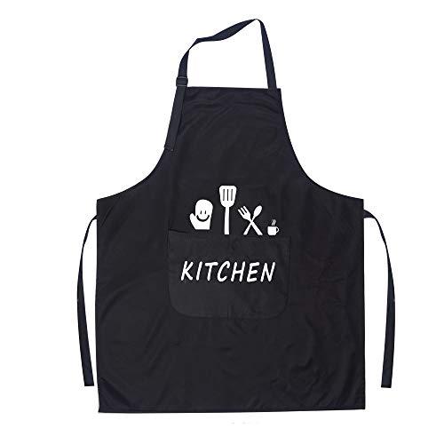 KinHwa Cucina Grembiule Impermeabile Ristorante Barbecue Grembiule Regolabile con 2 Tasche per Cucinare Cottura Giardinaggio per Uomo Donna Nero