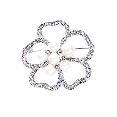 YUXIwang Broche de Broche de la Flor de Perlas con Cristal del Elemento de Lujo, Las señoras de Alto Grado Pines, 5,1 * 5,1 cm