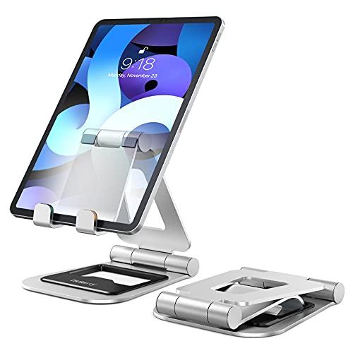 Nulaxy Supporto Tablet, Alluminio Supporto per iPad Pieghevole e Regolabile, Porta Cellulare da Tavolo per iPad PRO 12.9, 10.5, 9.7, Air Mini 2 3 4, iPhone, Switch, Samsung Tab (4.7 -13 ) - Argento