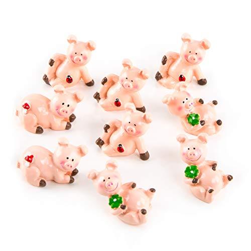 Logbuch-Verlag 9 kleine Glücksschweinchen rosa mit Kleeblatt kleines Geschenk Glücksbringer Talisman Tischdeko Give-Away Silvester Neujahr Weihnachten Prüfung