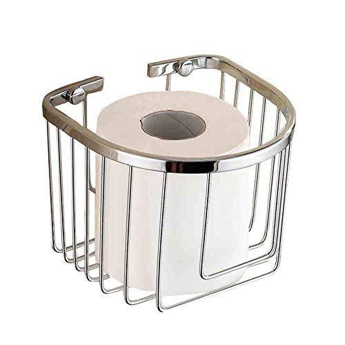 HYLX Lujoso portarrollos de Papel higiénico de Acero Inoxidable Rollo de Toalla portarrollos Caja de pañuelos Bandeja de Mano 14x14x12cm Plata