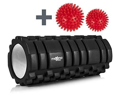 RODILLO DE ESPUMA DE MAXIMO FITNESS - Foam Roller - Trigger Point - Perfecto para el gimnasio o ejercicios en casa - 14cm x 33cm. (Black)