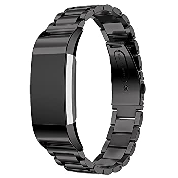 Maxjoy Compatible with Fitbit Charge 2 Bands Charge2 Metal Replacement Strap Stainless Steel Bracelet Band Small Large Wristband Compatible with Fitbit Charge 2 HR Tracker Black
