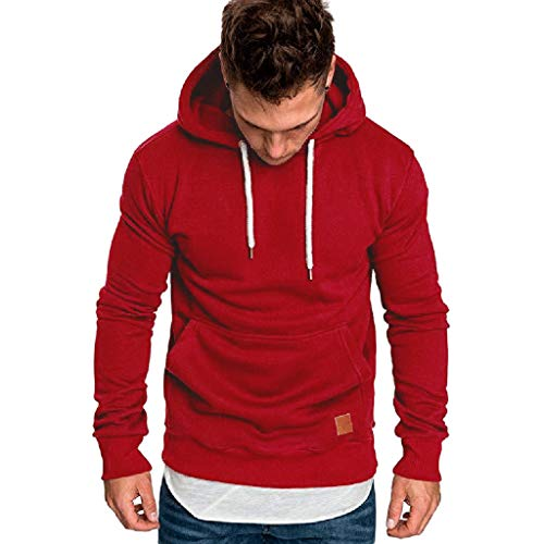 Buy wuliLINL Hoodie Men's Casual Pullover Long Sleeve Pure Color Hooded Outwear(Red,XXXL)