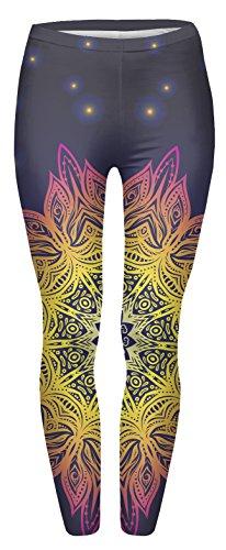 FRINGOO® Damen Yoga Printed Leggings Stretchy Workout Tights Running Gym Pants Base Layer 8 10 12 Gr. One size , Mandala Leuchten