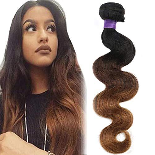 CRANBERRY Ombre Brazilian Human Hair Body Wave One Bundle 18inch Ombre Brazilian Virgin Human Hair Bundle Weave Extension Weft 3 Tone 1b/4/30 Color 100g/pc