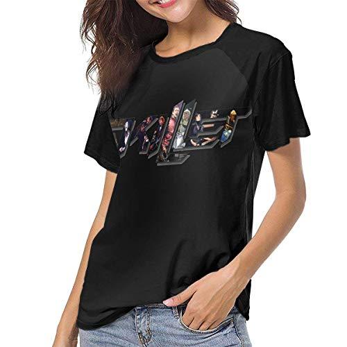 Kmehsv Skillet Band Women Baseball Damen Kurzarm T-Shirts mit Rundhalsausschnitt