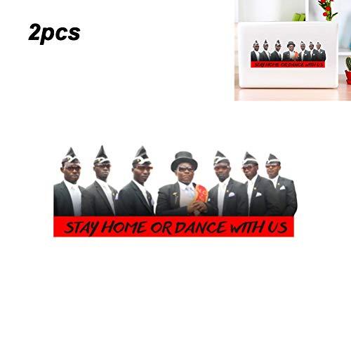 Katyma Aufkleber 2PCS lustige Schwarze Mann Sticker Autoaufkleber Wandaufkleber mit bleiben zu Hause oder tanzen für Window Auto Laptop