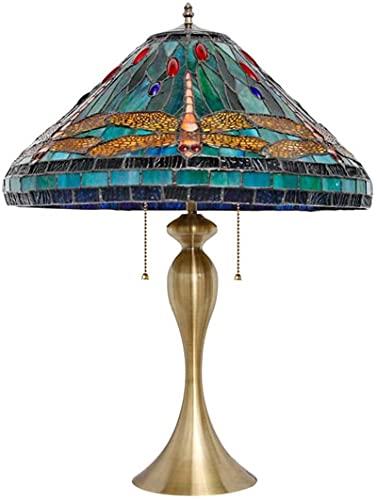 CXSMKP Lámpara de Mesa de Estilo libélula, Estilo Tiffany, de 40,6 cm, Hecha a Mano, vidriera, lámpara de Escritorio, lámpara de Lectura Vintage para Dormitorio