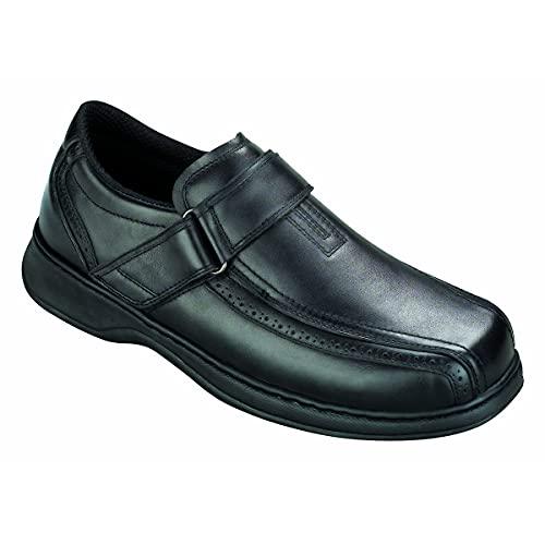 Orthofeet Plantar Fasciitis Pain Relief. Extended Widths. Orthopedic Diabetic Arthritis Men's Strap Shoes Lincoln Center Black